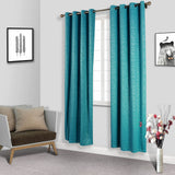 "2 Pack | 52""x108"" Teal Embossed Thermal Blackout Curtains With Chrome Grommet Window Treatment Panels"