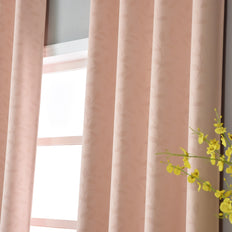 "Blackout Curtains Embossed 52x64"" Blush Pack of 2 Thermal Insulated With Chrome Grommet Window Treatment panels"