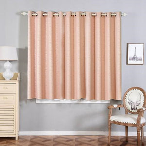 Blush Blackout Curtains | Pack of 2 Embossed Curtains | 52 x 64 Inch Length Curtains | Designer Blackout Curtains