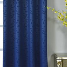 "Blackout Curtains Embossed 52x64"" Navy Blue Pack of 2 Thermal Insulated With Chrome Grommet Window Treatment panels"