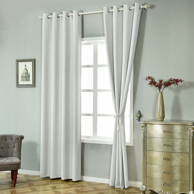 Silver Blackout Curtains | Pack of 2 Embossed Curtains | 52 x 64 Inch Length Curtains | Soundproof Velvet Curtains - Clearance SALE