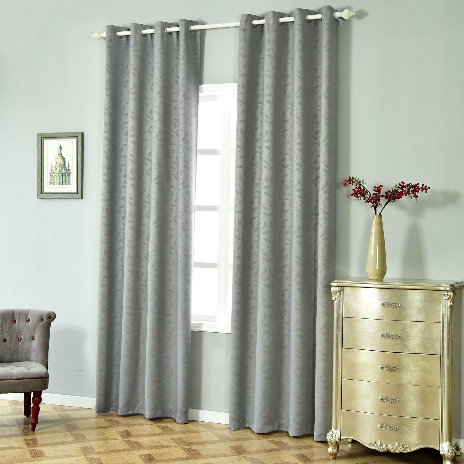 Charcoal Grey Blackout Curtains 2 Packs Embossed