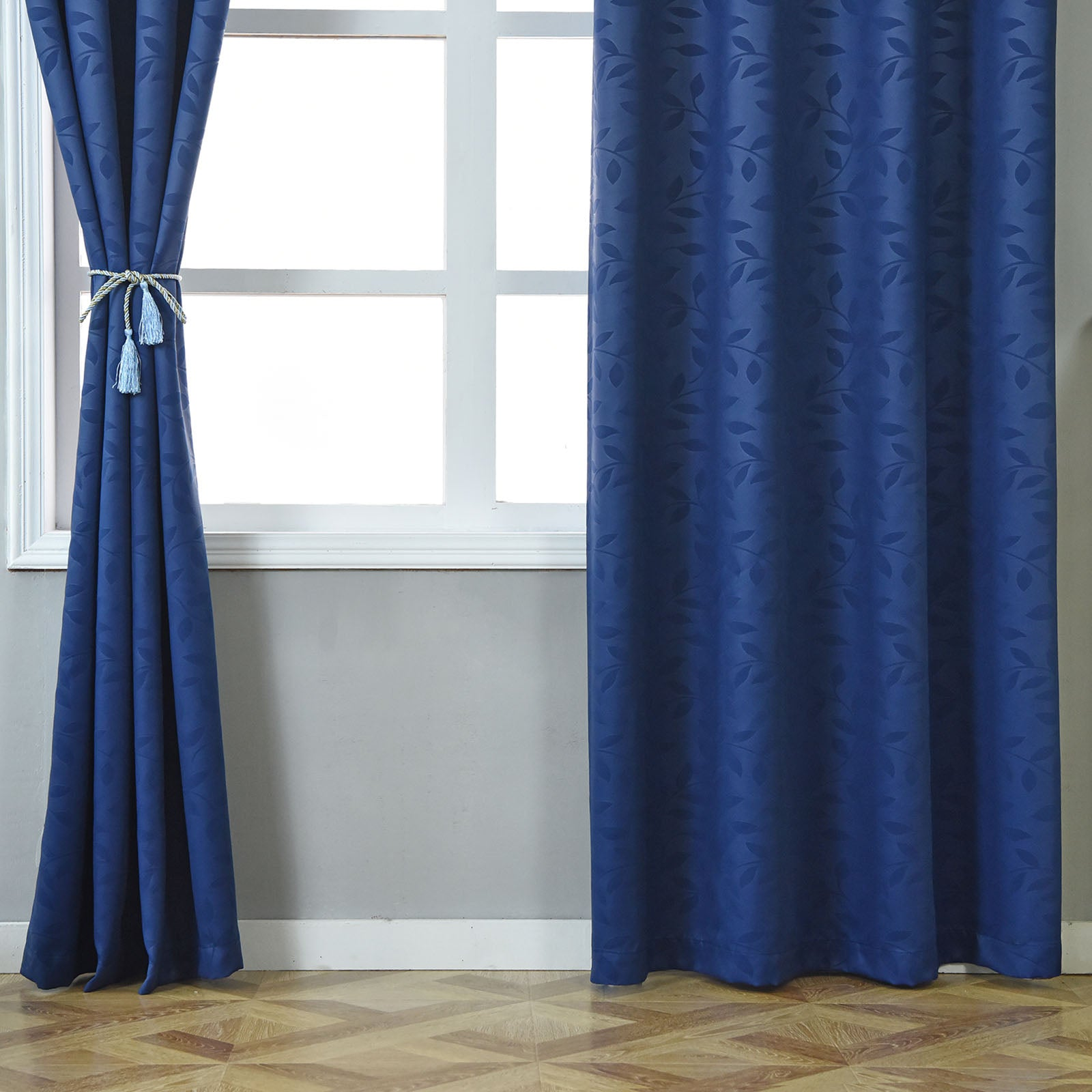2 pack navy blue printed polyester thermal insulated for Best blackout window treatments