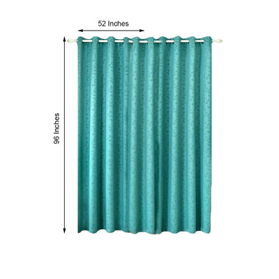 Teal Blackout Curtains | Pack of 2 Embossed Curtains | 52 x 96 Inch Blackout Curtains | Blackout Noise Reducing Curtains