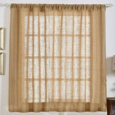 "2 Pack | 52x64"" Eco Friendly Burlap Jute Rustic Home Curtain Backdrop Panels With Rod Pocket"