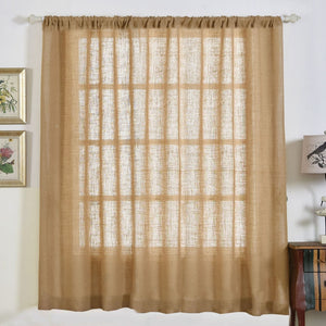 "Pack of 2 | 52x84"" Eco Friendly Burlap Jute Rustic Home Curtain Backdrop Panels With Rod Pocket"
