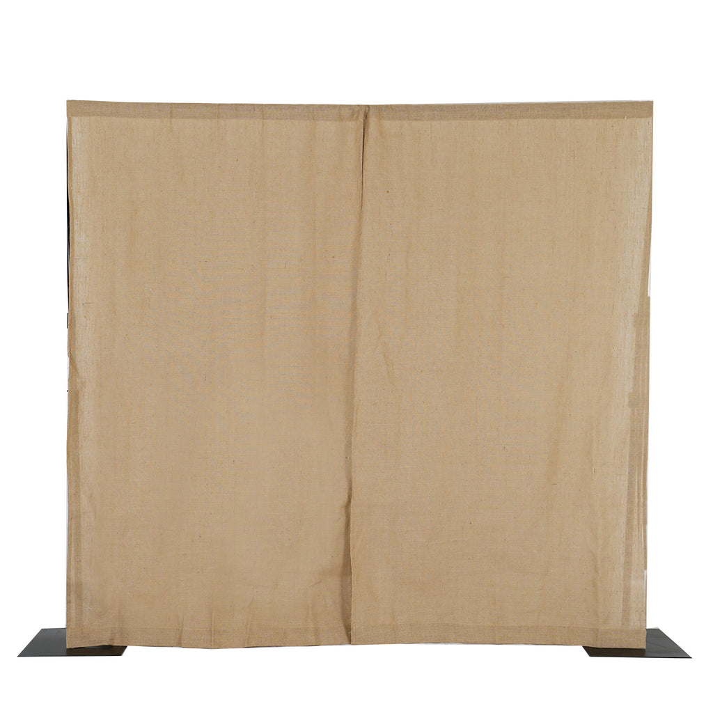 Pack Of 2 52x96 Eco Friendly Burlap Jute Rustic Home Curtain Backdrop Panels With Rod Pocket Tableclothsfactory