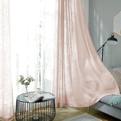"Pack of 2 | 52""x108"" Faux Linen Curtains, Semi Sheer Curtain Panels with Chrome Grommet- Blush 