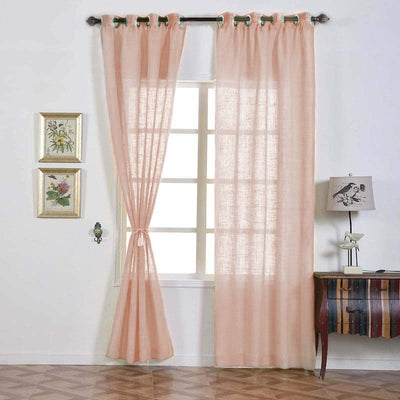 52inchx108inch Faux Linen Curtains, Semi Sheer Curtain Panels with Chrome Grommet- Blush | Rose Gold