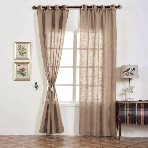 "Pack of 2 | 52""x108"" Taupe Faux Linen Curtains, Semi Sheer Curtain Panels with Chrome Grommet"