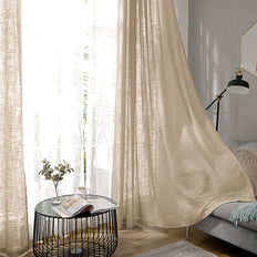"Pack of 2 | 52""x108"" Beige Faux Linen Curtains, Semi Sheer Curtain Panels with Chrome Grommet"
