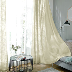 "Pack of 2 | 52""x108"" Ivory Faux Linen Curtains, Semi Sheer Curtain Panels with Chrome Grommet"