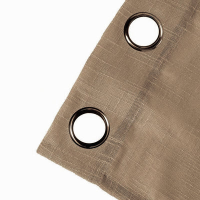 52x64 inch Taupe Faux Linen Curtains, Semi Sheer Curtain Panels with Chrome Grommet