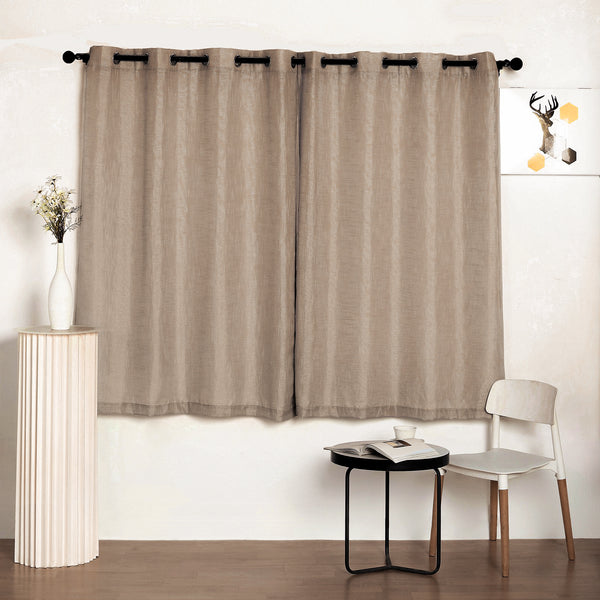 "Pack of 2 | 52""x64"" Taupe Faux Linen Curtains, Semi Sheer Curtain Panels with Chrome Grommet"