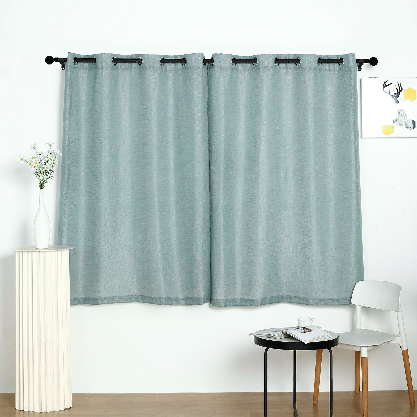 Pack Of 2 52 X64 Dusty Blue Faux Linen Curtains Semi Sheer Curtain Panels With Chrome Grommet Tableclothsfactory