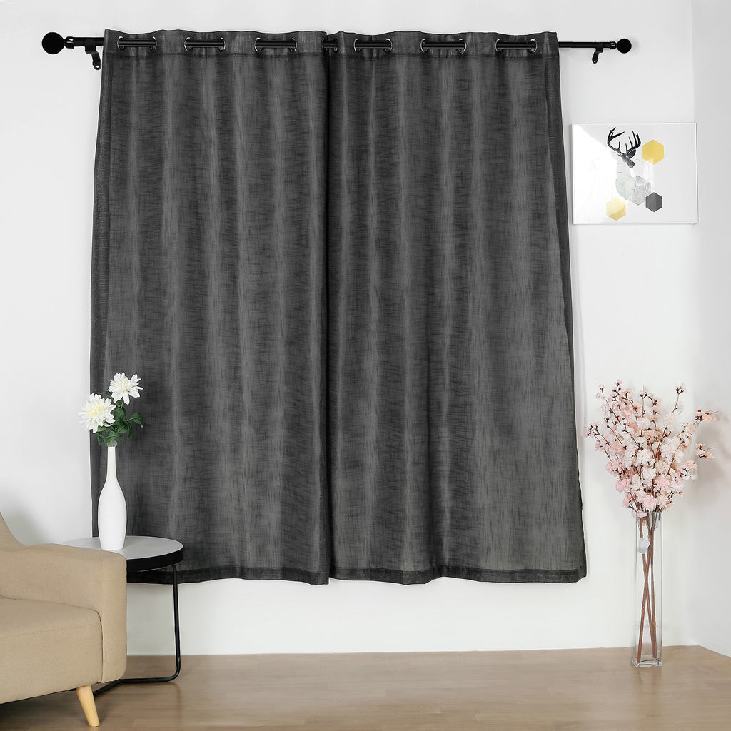 Pack Of 2 52 X84 Charcoal Gray Faux Linen Curtains Semi Sheer Curtain Panels With Chrome Grommet Tableclothsfactory