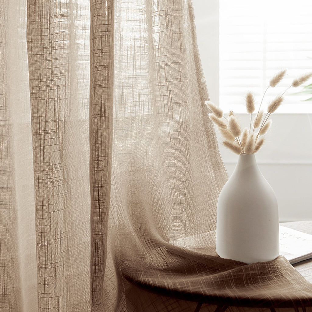 2 pack handmade linen curtain 52 x84 taupe faux linen curtain panels with chrome grommets