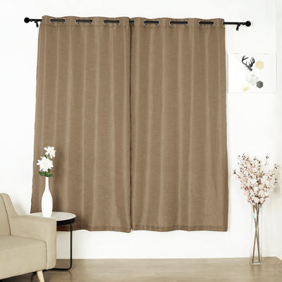52x84inch Taupe Faux Linen Curtains, Semi Sheer Curtain Panels with Chrome Grommet