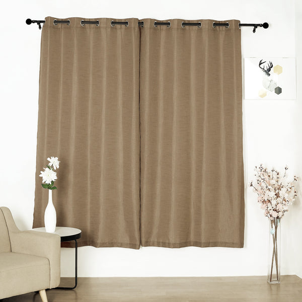 "Pack of 2 | 52""x84"" Taupe Faux Linen Curtains, Semi Sheer Curtain Panels with Chrome Grommet"