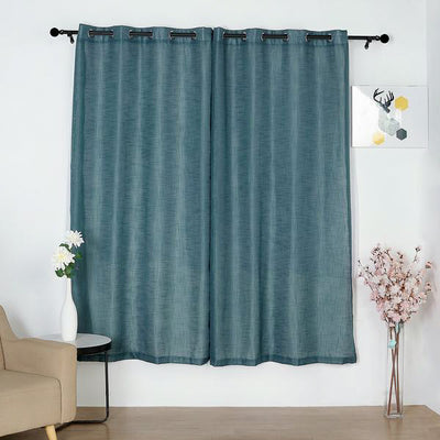 52x84inch Blue Faux Linen Curtains, Semi Sheer Curtain Panels with Chrome Grommet