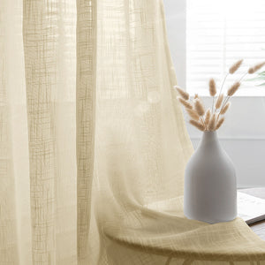52x84inch Ivory Faux Linen Curtains, Semi Sheer Curtain Panels with Chrome Grommet