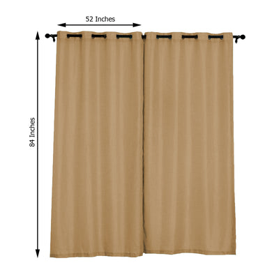 "Pack of 2 | 52""x84"" Natural Faux Linen Curtains, Semi Sheer Curtain Panels with Chrome Grommet"