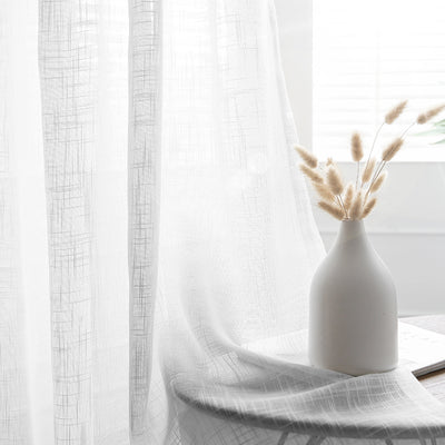 52x84inch White Faux Linen Curtains, Semi Sheer Curtain Panels with Chrome Grommet