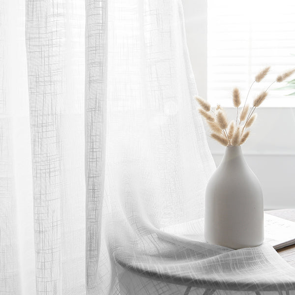 "Pack of 2 | 52""x84"" White Faux Linen Curtains, Semi Sheer Curtain Panels with Chrome Grommet"