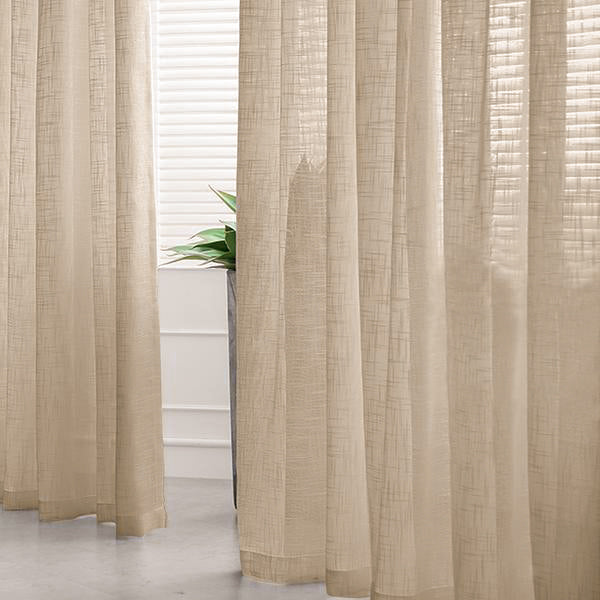 Pack Of 2 52 X96 Beige Faux Linen Curtains Semi Sheer Curtain Panels With Chrome Grommet Tableclothsfactory