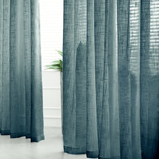 52x96 inches Blue Faux Linen Curtains, Semi Sheer Curtain Panels with Chrome Grommet