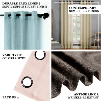 "Pack of 2 | 52""x84"" Blue Faux Linen Curtains, Semi Sheer Curtain Panels with Chrome Grommet"