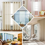 "Pack of 2 | 52""x84"" Ivory Faux Linen Curtains, Semi Sheer Curtain Panels with Chrome Grommet"