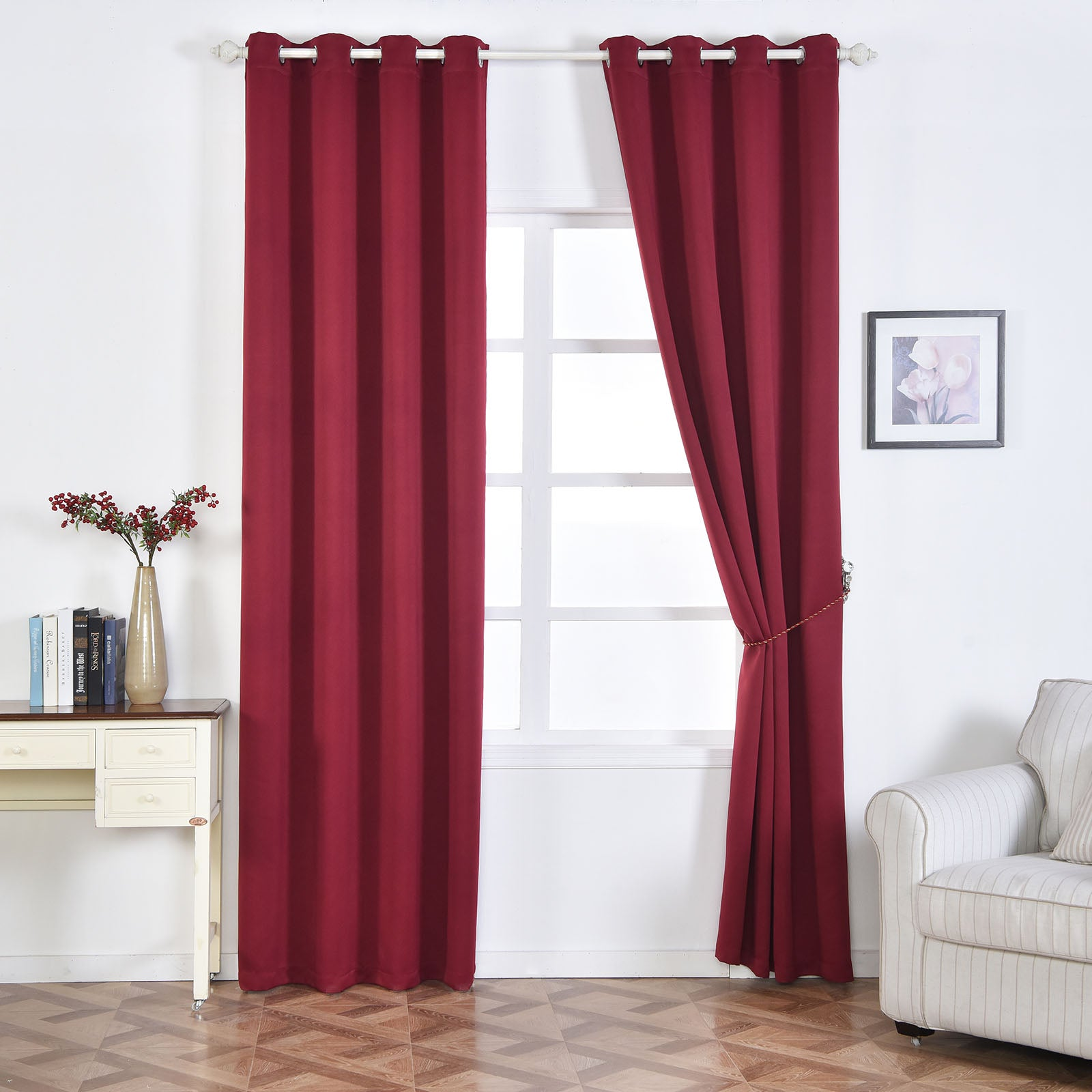2 pack burgundy thermal insulated blackout room darkening for Best blackout window treatments