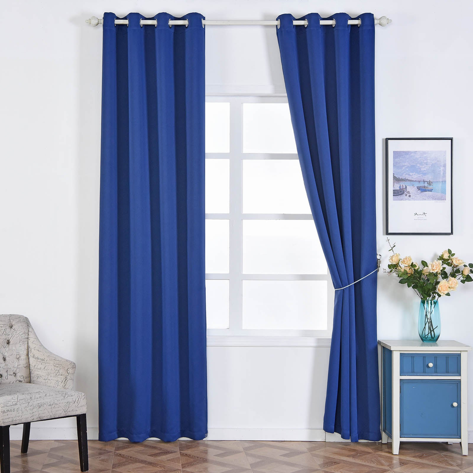 navy blue curtains blackout curtains 52x108 quot navy blue pack of 2 thermal 12427