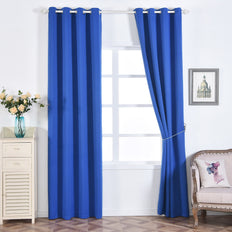 "Blackout Curtains 52x108"" Royal Blue Pack of 2 Thermal Insulated With Chrome Grommet Window Treatment Panels"