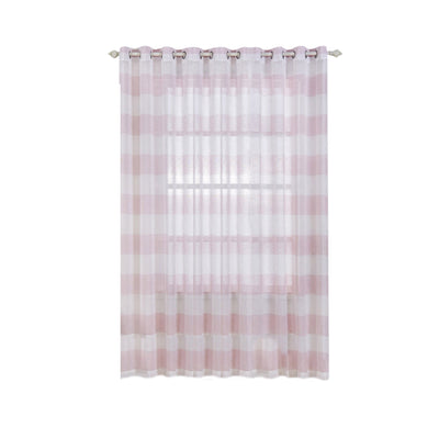 "Pack of 2 | 52""x 108"" Cabana Print Faux Linen Curtain Panels With Chrome Grommet - White / Blush - Clearance SALE"