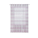"Pack of 2 | 52""x 108"" Cabana Print Faux Linen Curtain Panels With Chrome Grommet - White / Lavender"