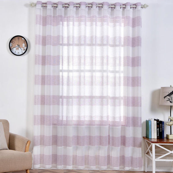 "Pack of 2 | 52""x 108"" Cabana Print Faux Linen Curtain Panels With Chrome Grommet - White / Lavender - Clearance SALE"