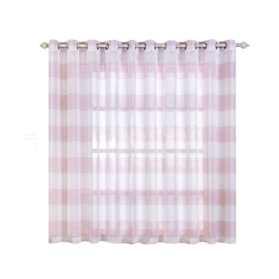 "2 Pack | 52""x 64"" Cabana Print Faux Linen Curtain Panels With Chrome Grommet - White / Blush"