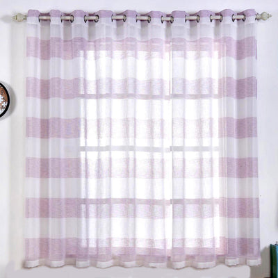 "2 Pack | 52""x 64"" Cabana Print Faux Linen Curtain Panels With Chrome Grommet - White / Lavender"