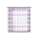 "Pack of 2 | 52""x 64"" Cabana Print Faux Linen Curtain Panels With Chrome Grommet - White / Lavender"