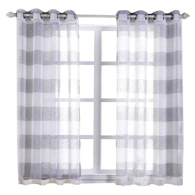 "2 Pack | 52""x 64"" Cabana Print Faux Linen Curtain Panels With Chrome Grommet - White / Silver"