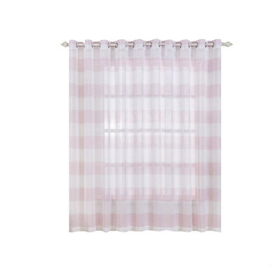 "Pack of 2 | 52""x 84"" Cabana Print Faux Linen Curtain Panels With Chrome Grommet - White / Blush"