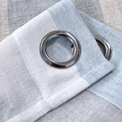 "Pack of 2 | 52""x 84"" Cabana Print Faux Linen Curtain Panels With Chrome Grommet - White / Blue"