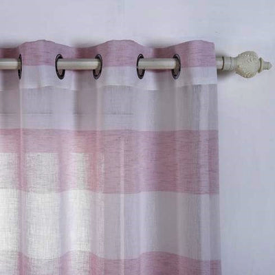 "2 Pack | 52""x 96"" Cabana Print Faux Linen Curtain Panels With Chrome Grommet - White / Blush"