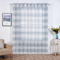 "Pack of 2 | 52""x 96"" Cabana Print Faux Linen Curtain Panels With Chrome Grommet - White / Blue"