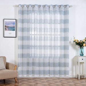 "2 Pack | 52""x 96"" Cabana Print Faux Linen Curtain Panels With Chrome Grommet - White / Blue"