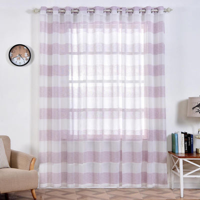 "Pack of 2 | 52""x 96"" Cabana Print Faux Linen Curtain Panels With Chrome Grommet - White / Lavender"
