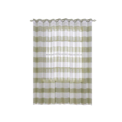 "Pack of 2 | 52""x 96"" Cabana Print Faux Linen Curtain Panels With Chrome Grommet - White / Sage Green"