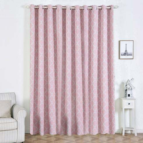 "Lattice Print Curtains | Pack of 2 | White & Blush Blackout Curtains | 52""x108"" Grommet Curtains 